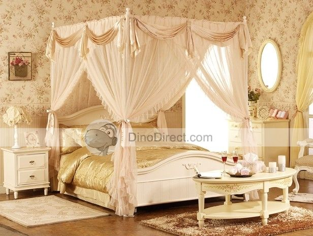 4 Poster Lace Princess Bed Canopies Netting & 4 Poster Modern Luxurious Lace Princess Bed Mosquito Netting ...