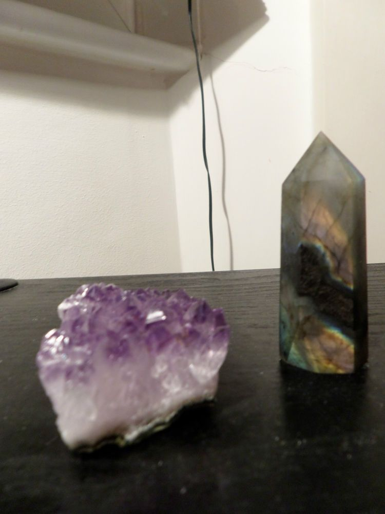 Small Labradorite wand and Amethyst Crystal cluster