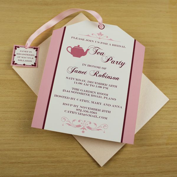 Tea Party Invitation Template Tea Bag Cutout  Party Invitation