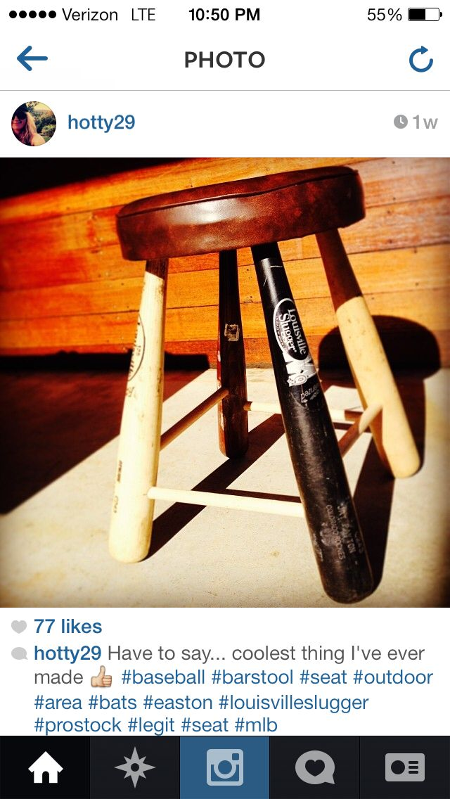 Homemade Bar Stools Out Of Baseball Bats