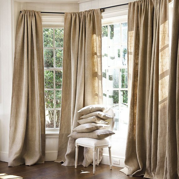 Natural Burlap Window Treatments Curtains 60 Inch Wide Panels