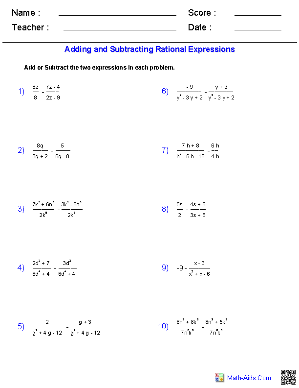 Adding and Subtracting Rational Expressions Worksheets ...