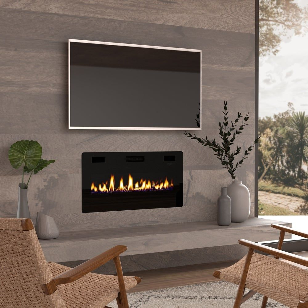 36 Quot Ultra Thin Electric Fireplace Insert Wall Mounted In Wall Easy Installation With Remote
