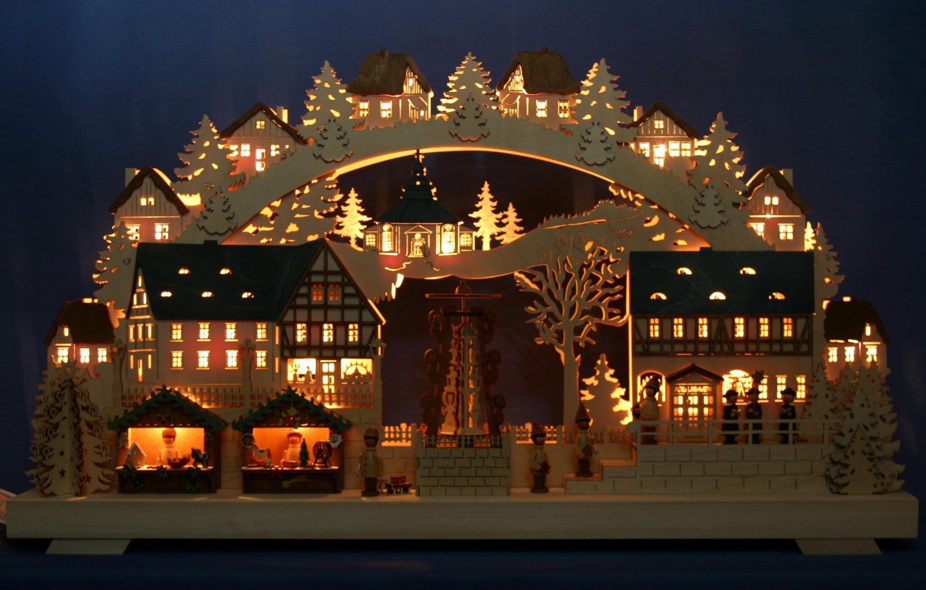 3D Led Schwibbogen Lichterbogen Weihnachten Lichter Erzgebirge Pyramide