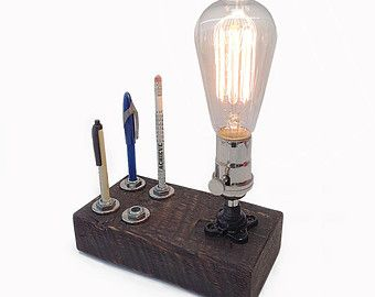 Industrial Desk Lamp: Pen Holder, Pencil Holder, Industrial Table Lamp, Urban Lamp, Boss Gift