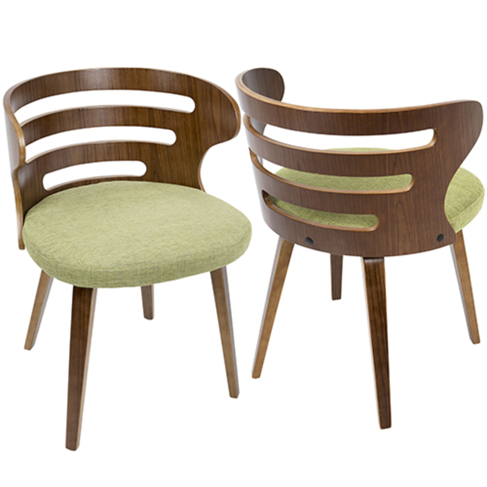 Cosi Mid Century Modern Dining Accent Chair In Walnut Green