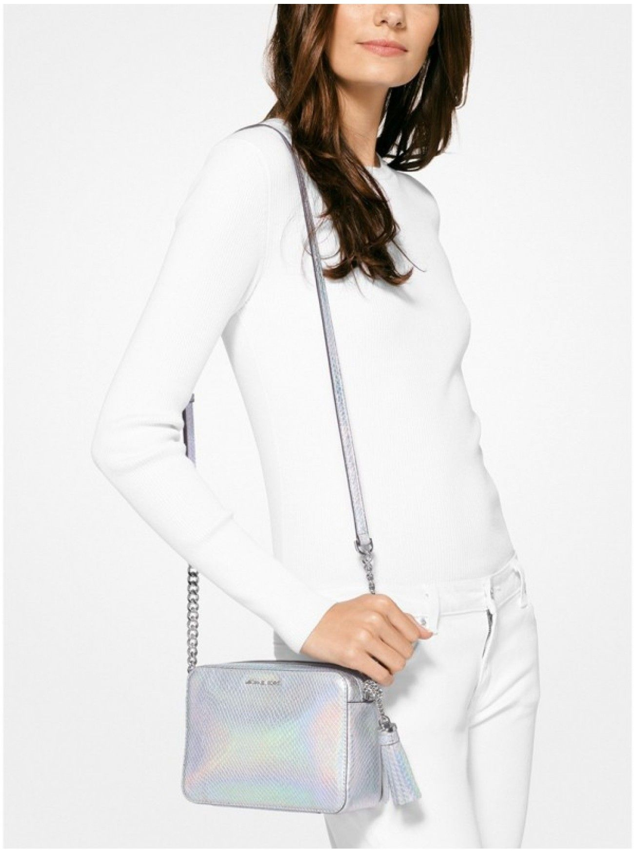 885605f54b21 Cheap MICHAEL Michael Kors Ginny Iridescent Embossed Leather Crossbody  RAINBOW Canada Online Sale