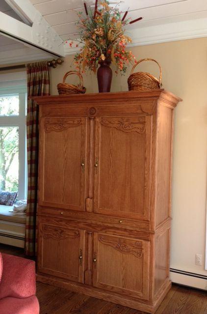 Red Oak Bar Cabinet Hide A с