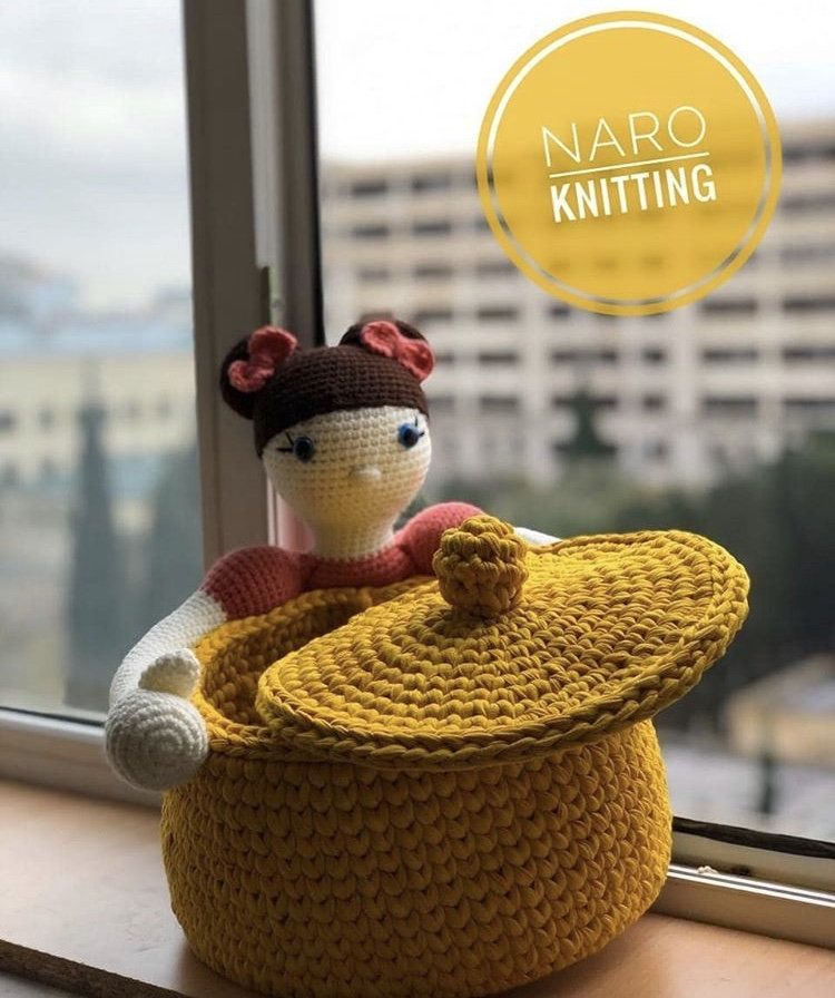 Crochet Bunny with Knitted Basket, Kids Room Stora