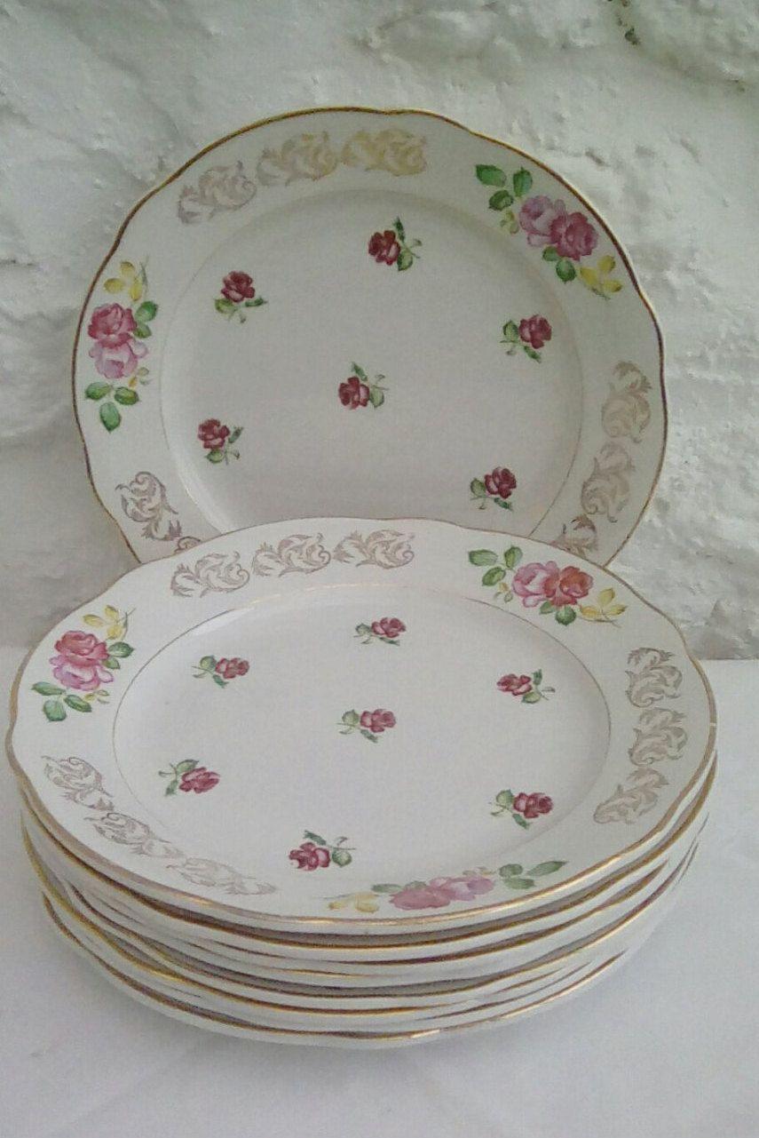 Vintage French dinner plates Luneville u0027Rosesu0027 design faïence mid century & Vintage French dinner plates Luneville u0027Rosesu0027 design faïence mid ...