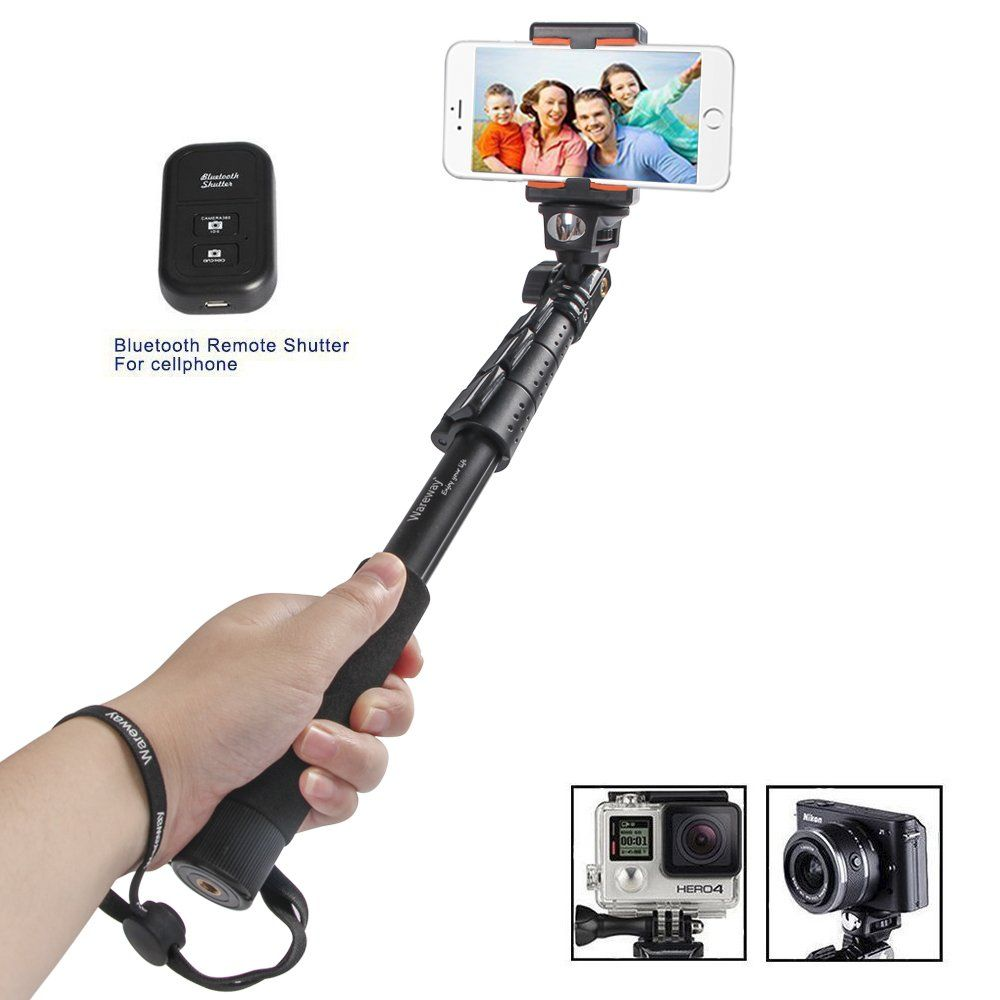 943e5b18909593 Extending Selfie Stick with Remote Housing Tripod Mount for GoPro Hero 1 2  3 3+4 Handheld Telescopic Self-portrait Monopod with Bluetooth Remote  Shutter ...