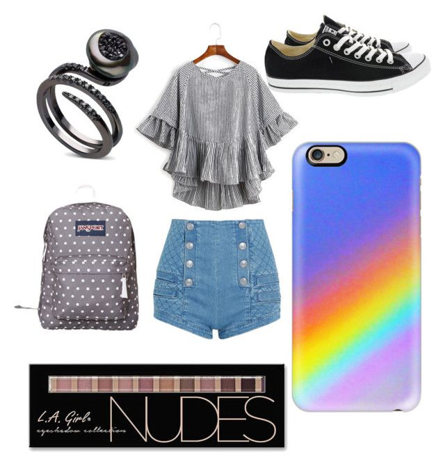 """Spring!!! #5"" by sydnaiqueenz on Polyvore featuring WithChic, Pierre Balmain, Converse, JanSport, Casetify and Charlotte Russe"