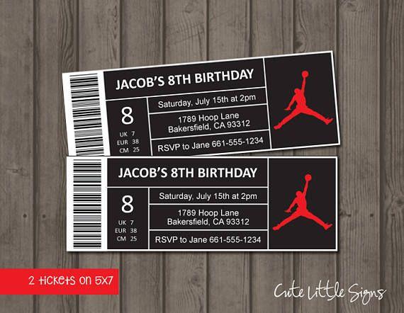 Jordan Shoe Box Label Ticket Birthday Invitation Digital Boys - printable ticket paper