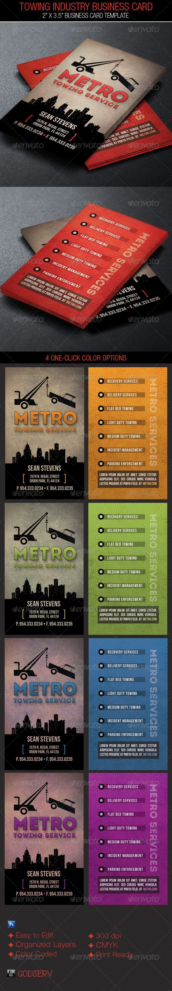 Towing Industry Business Card Template | Card templates, Business ...
