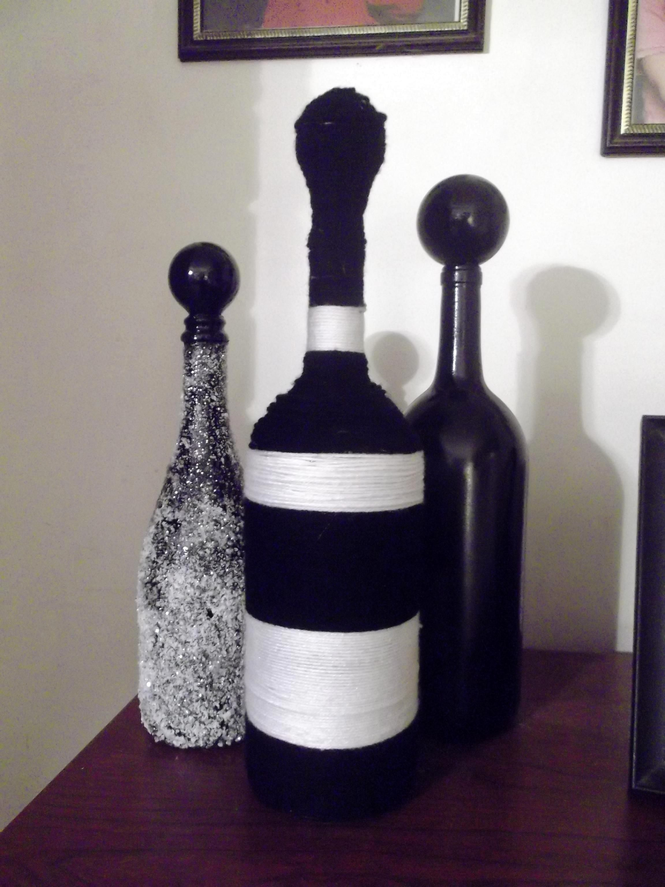 Decorated Wine Bottles Worth A Try For Above The Kitchen Cabinets