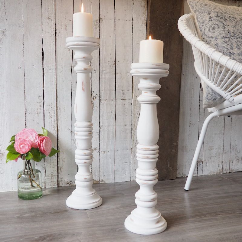 White Carving Flower Candlestick Candle Holder Candelabra Home Wedding Decor
