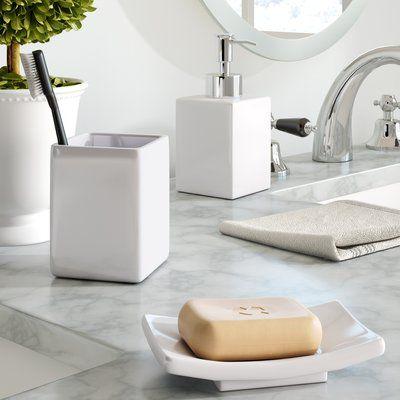 The Twillery Co Elberton 3 Piece Bathroom Accessory Set Bathroom Accessories Sets Bathroom Accessories Marble Bathroom Accessories