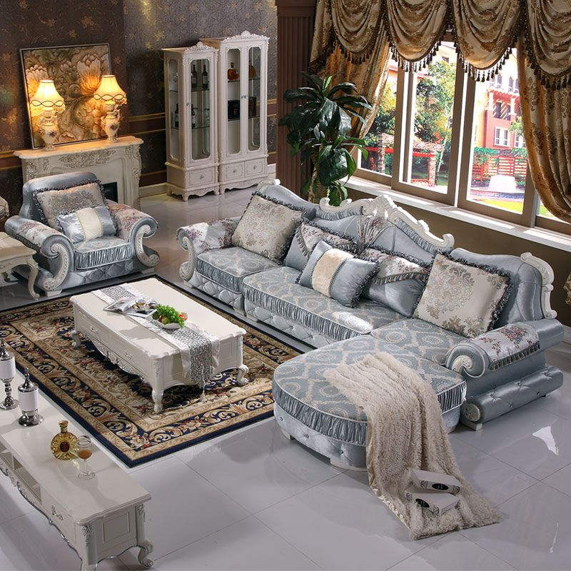 Living Room European Sectional Sofa Set In High Quality Fabric U03 Free Shipping