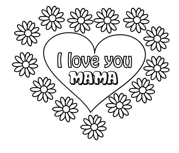 Kleurplaten Met I Love You.Hartje Met Bloemen I Love You Mama Thema Moeder En Vaderdag