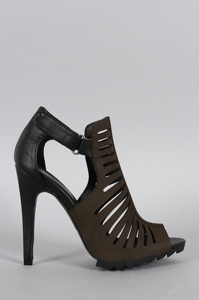 Qupid Strappy Cutout Bootie