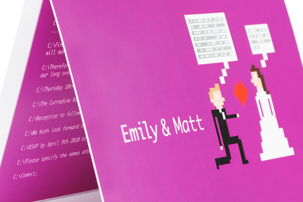 funny geeky wedding invitations computer coding theme fuschia ...