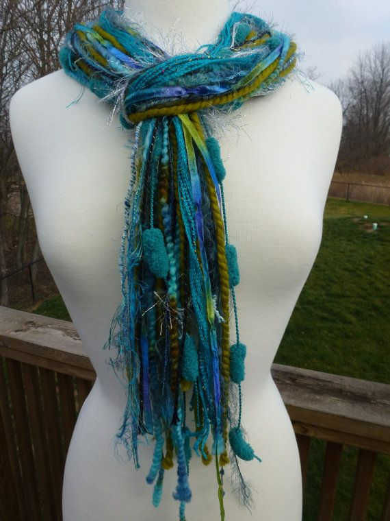 Turquoise Peacock Waterfall Fringe Yarn Scarf By