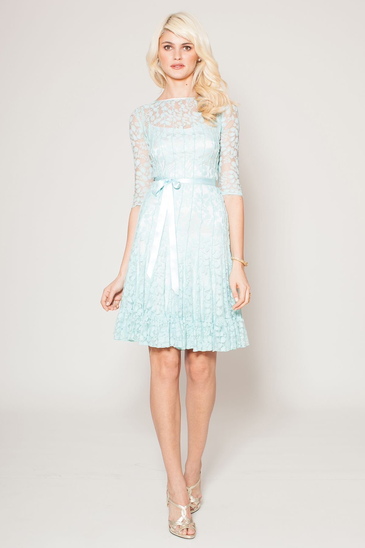 Light Blue Cocktail Dress with Sleeves Teri Jon
