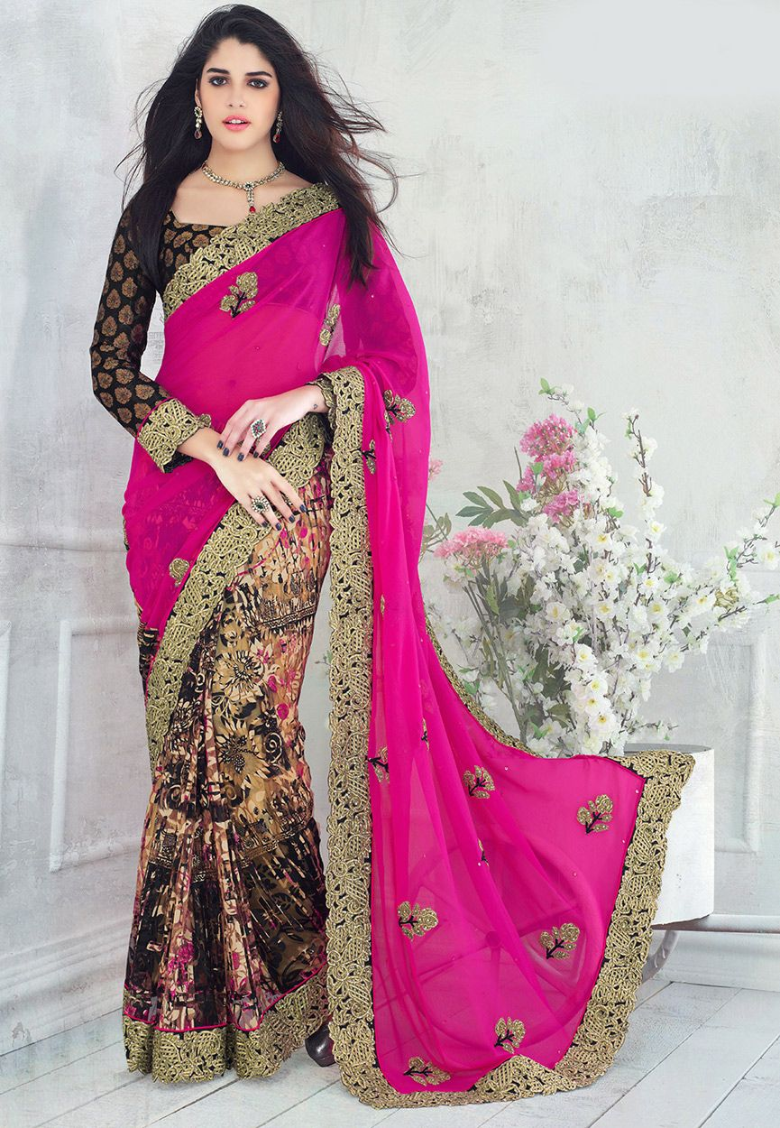 Fuchsia and Black Faux Chiffon and Net Brasso Saree With Blouse: STL363