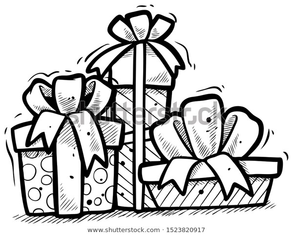 Cartoon Black White Presents Different Gift Stock Vector Royalty Free 1523820917 Black And White Cartoon Presents