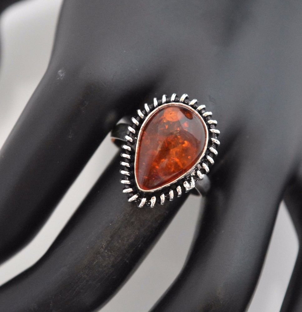 amber wedding ring Vintage Look Baltic Amber Silver Plated Wedding Jewelry Ring Size 9 5 E