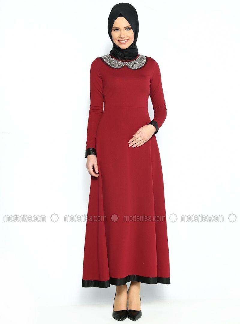 Boncuk Islemeli Elbise Bordo Sibella Islami Moda Moda Stilleri Elbise