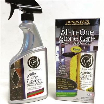 """Supreme Surface Combo Kit: Daily Stone Cleaner and """"All-In-One"""" Stone Care (Cleaner, Polish, Sealer) for Granite, Quartz, Marble. A Unique Treatment with ioSeal."""