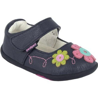 0888b8c8e3988 New Pediped Grip n Go Sadie Navy Blue Leather Mary Jane with Flowers  Toddler Girls Shoes,