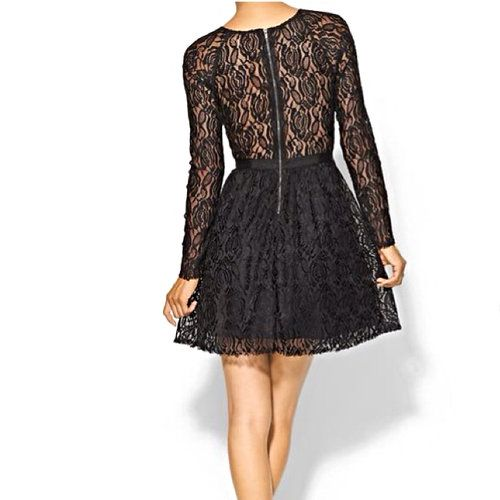 NWT Black Lace dress With Sheer Back - $61