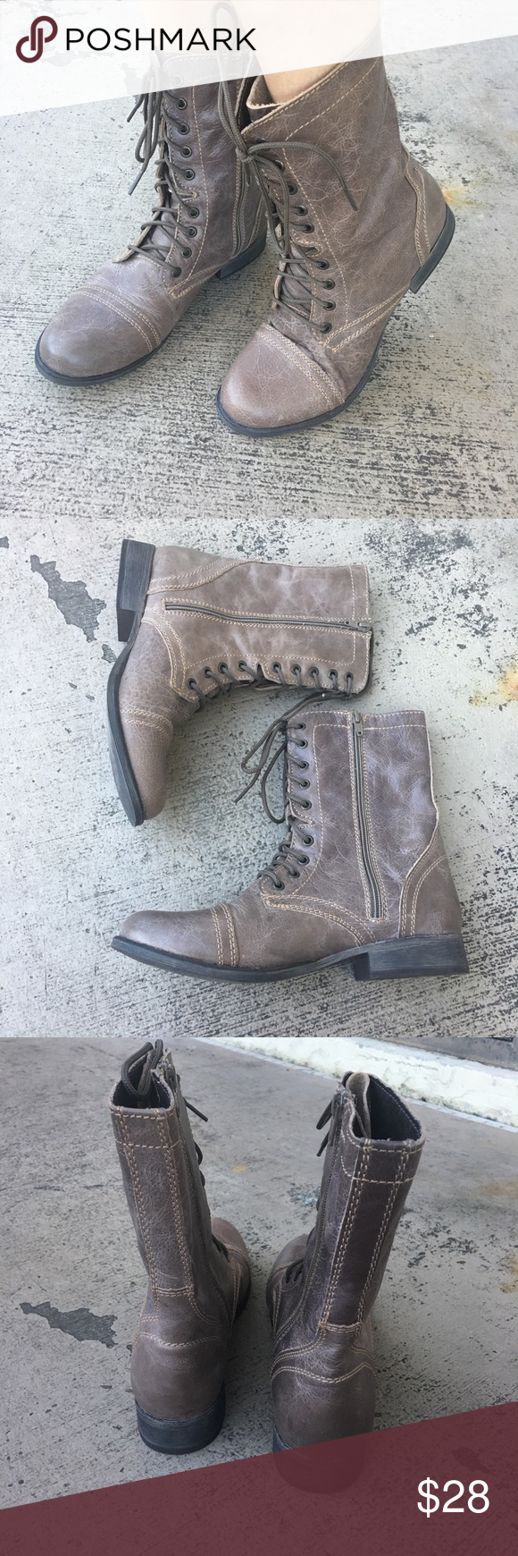 6aeee7c6457 Steve Madden Troopa Tan Leather Combat Boots Heels Attention troops  This  is the perfect combat boot! The TROOPA is a serious statement shoe that is  a ...