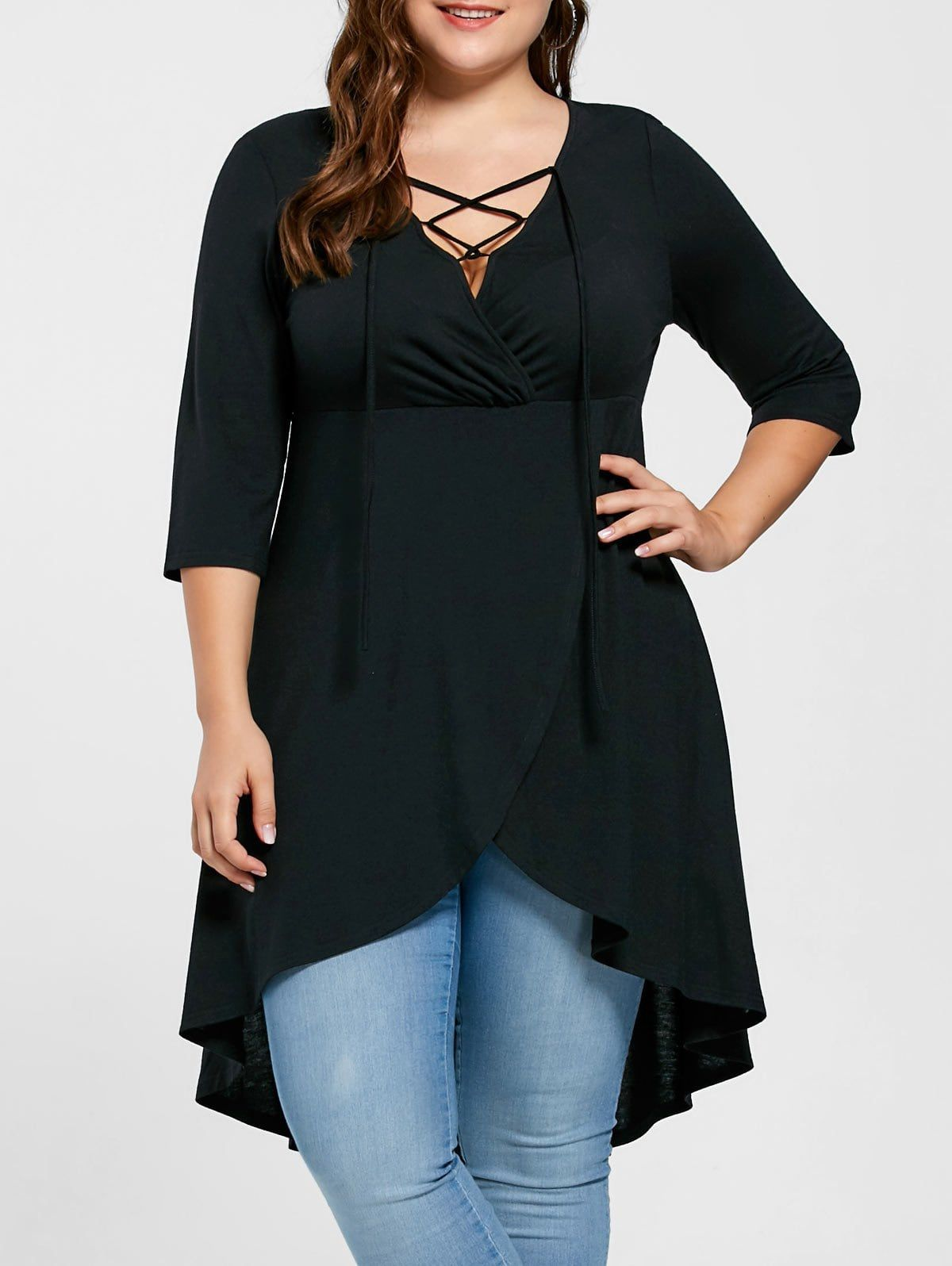 42a0adfe291706 [ 54% OFF ] 2018 Plus Size Overlap Lace Up Top In Black 5xl | Rosegal.com