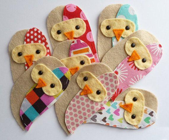 THREE fabric owlss HANDMADE embellishment / applique