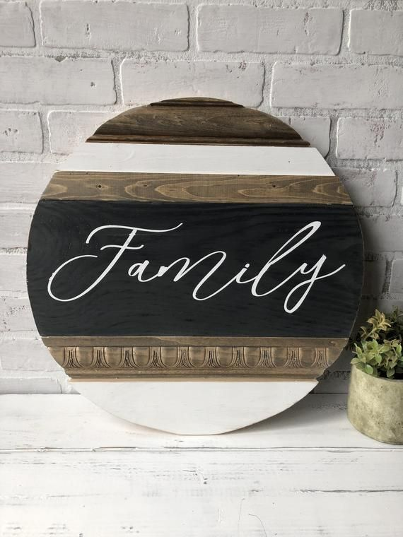 Family wood sign / Signs / Home decor / Round wood sign / | Etsy