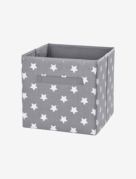 bac de rangement en tissu imprim gris etoile rose coeur vertbaudet enfant maison chambre. Black Bedroom Furniture Sets. Home Design Ideas