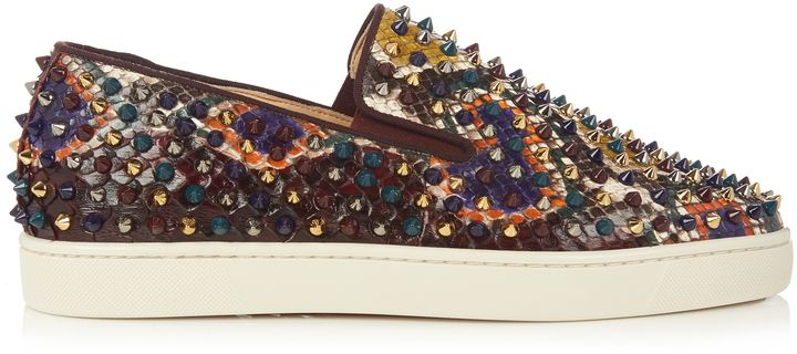 aadc9f87331 CHRISTIAN LOUBOUTIN Roller-Boat slip-on python trainers | Mens Slip ...