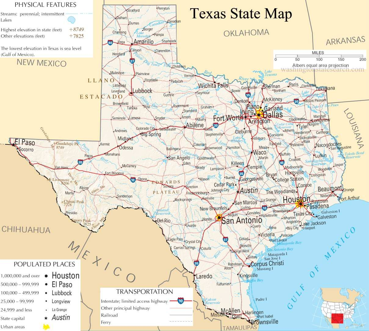 A large detailed map of Texas State | Home | Texas, Texas state map, Map