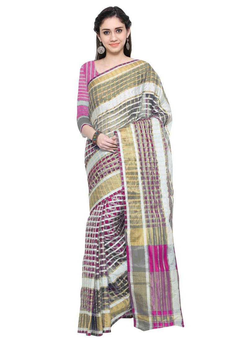 f09af5e1775 Buy Pink plain cotton saree with latest designs here at Mirraw.
