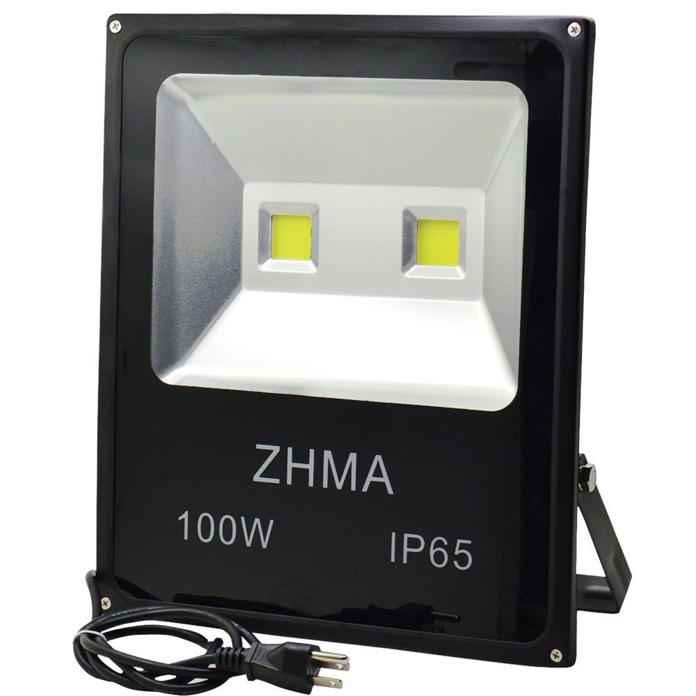 Zhma 100w Led Flood Lights Outdoor Light With 2x50w Sufficient Wattage Led Chip Floodlight With Us 3 Plug 250w Hps Bulb Equivalent Daylight White 6000k Water Led Flood Lights Flood Lights Led Flood