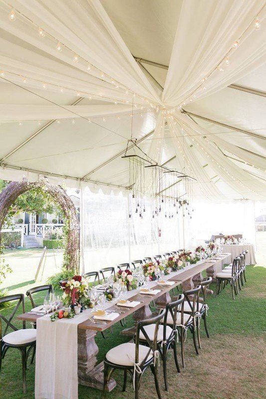 Outdoor Tented Wedding Reception Idea Long Rectangle Tables The
