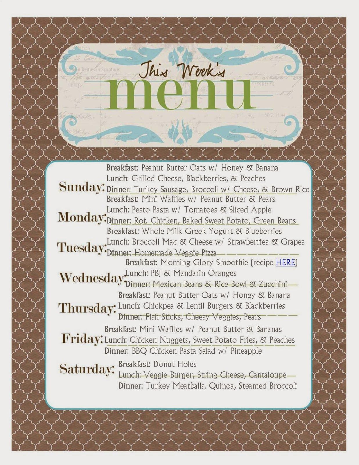 We Eat  Weekly Toddler Menu Planner  Kids    Toddler