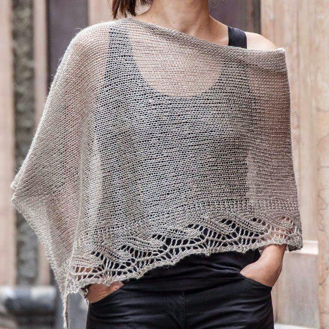 Patrón gratis Chal Poncho Emilia para tejer | knitting | Pinterest ...
