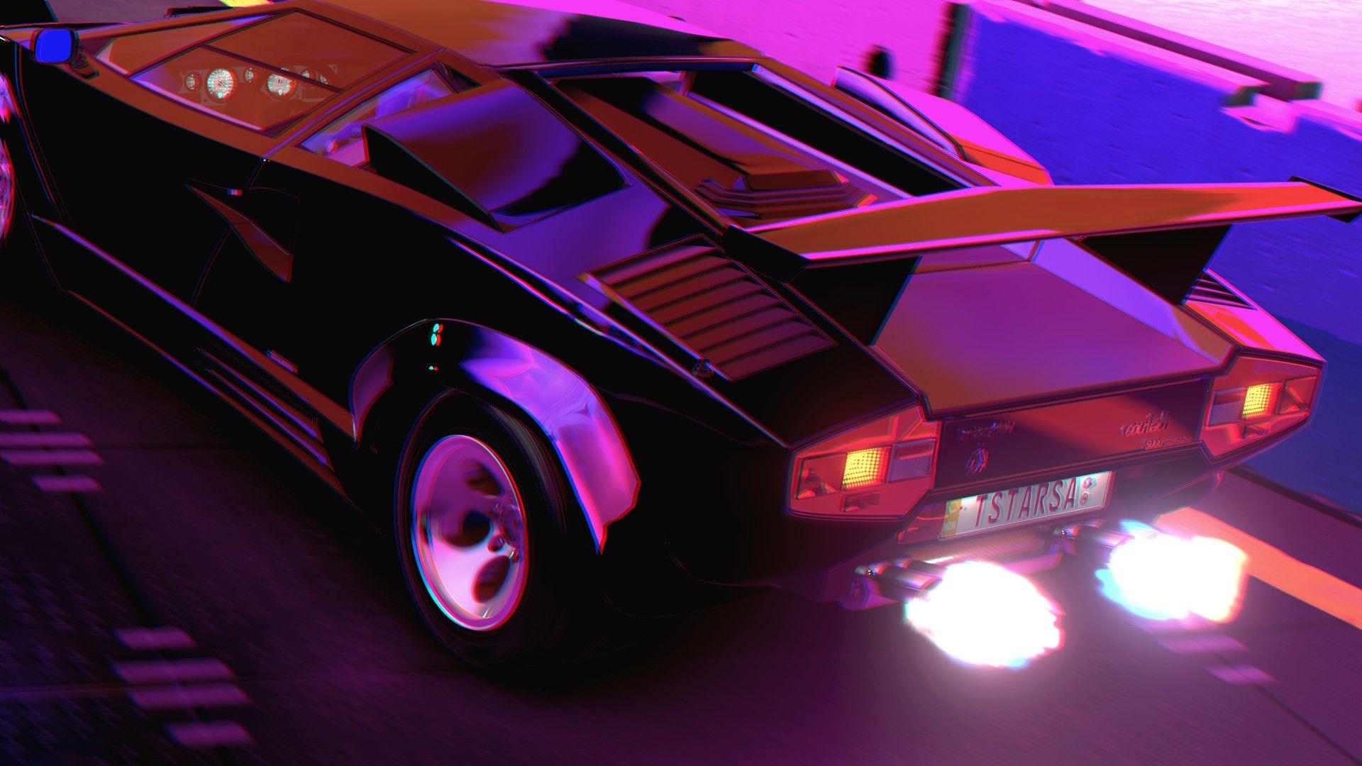 Retro Synth 80s Car City Neon Road Night Purple Wallpaper Classic 80 Ler Araba Sehir Isik Yol Gece M Lamborghini Lamborghini Countach Neon Car