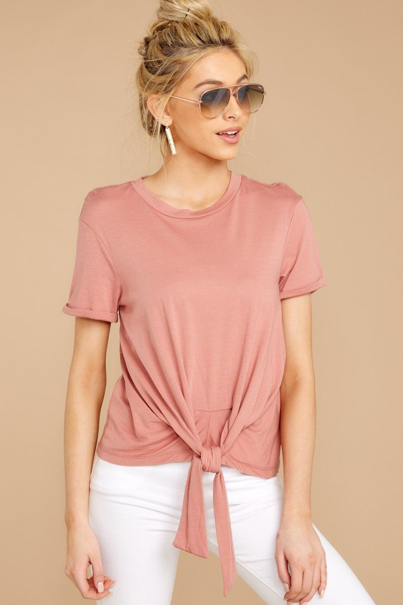 d88852db8eed The Tie Front Crew Tee In Old Rose in 2019 | c•l•o•t•h•e•s | Tied t ...
