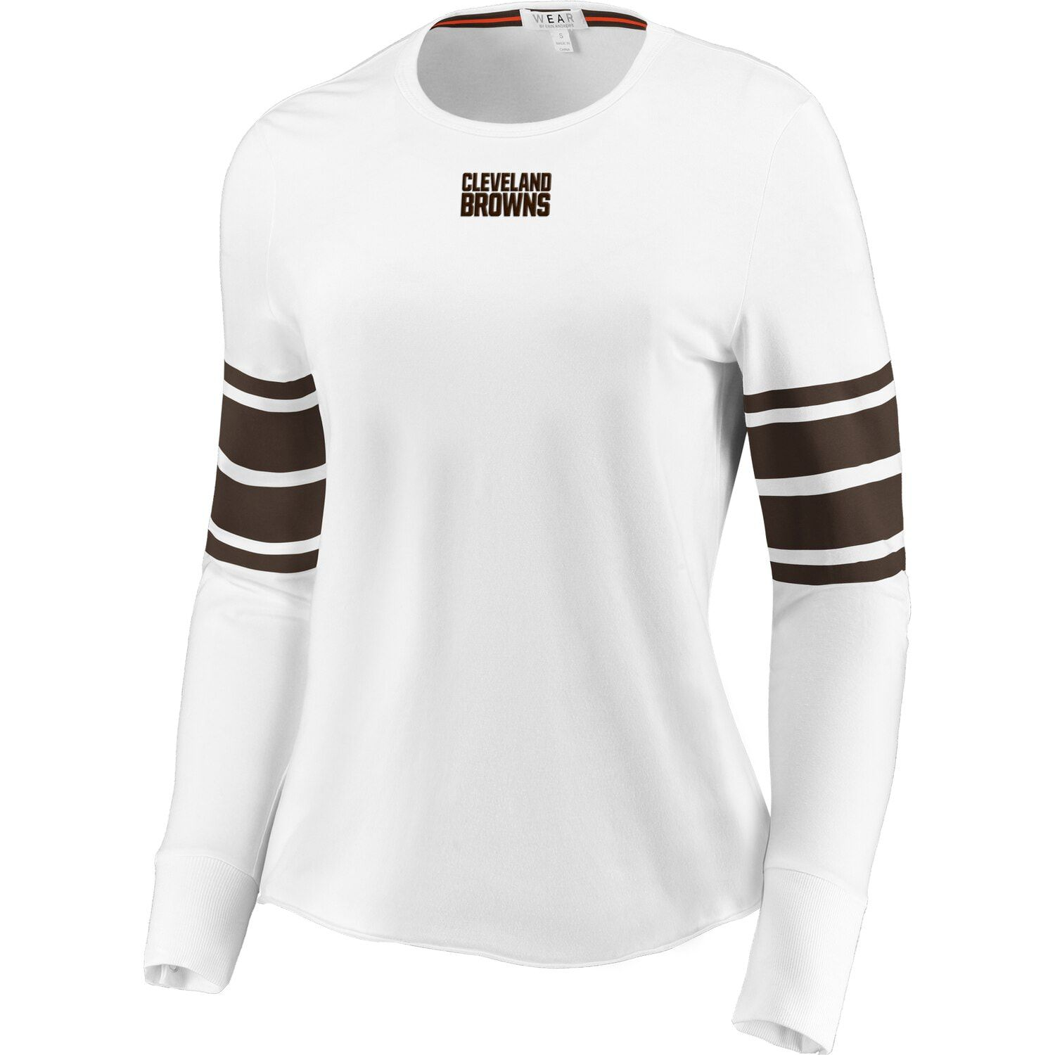 Women S Wear By Erin Andrews White Cleveland Browns Snap Cuff Long Sleeve T Shirt Long Sleeve Tshirt Men Erin Andrews Sleeves