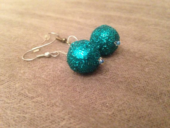 Only 5.50!!  Sparkle Ball Dangle Earrings by kaleidascopekate on Etsy.  jewelry accessories fashion style cheap